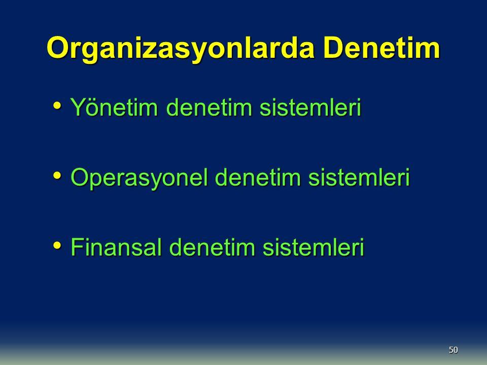50 Organizasyonlarda Denetim Yönetim denetim sistemleri Yönetim denetim sistemleri Operasyonel denetim sistemleri Operasyonel denetim sistemleri Finan