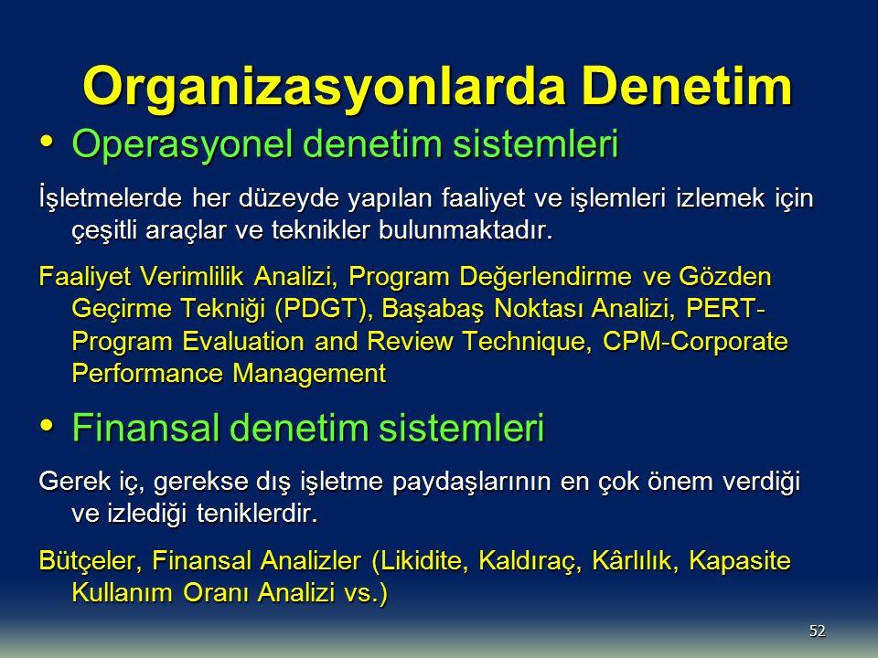 52 Organizasyonlarda Denetim Operasyonel denetim sistemleri Operasyonel denetim sistemleri İşletmelerde her düzeyde yapılan faaliyet ve işlemleri izle