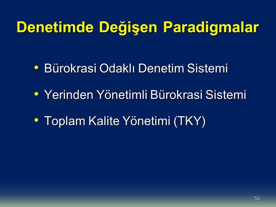 53 Denetimde Değişen Paradigmalar Bürokrasi Odaklı Denetim Sistemi Bürokrasi Odaklı Denetim Sistemi Yerinden Yönetimli Bürokrasi Sistemi Yerinden Yöne