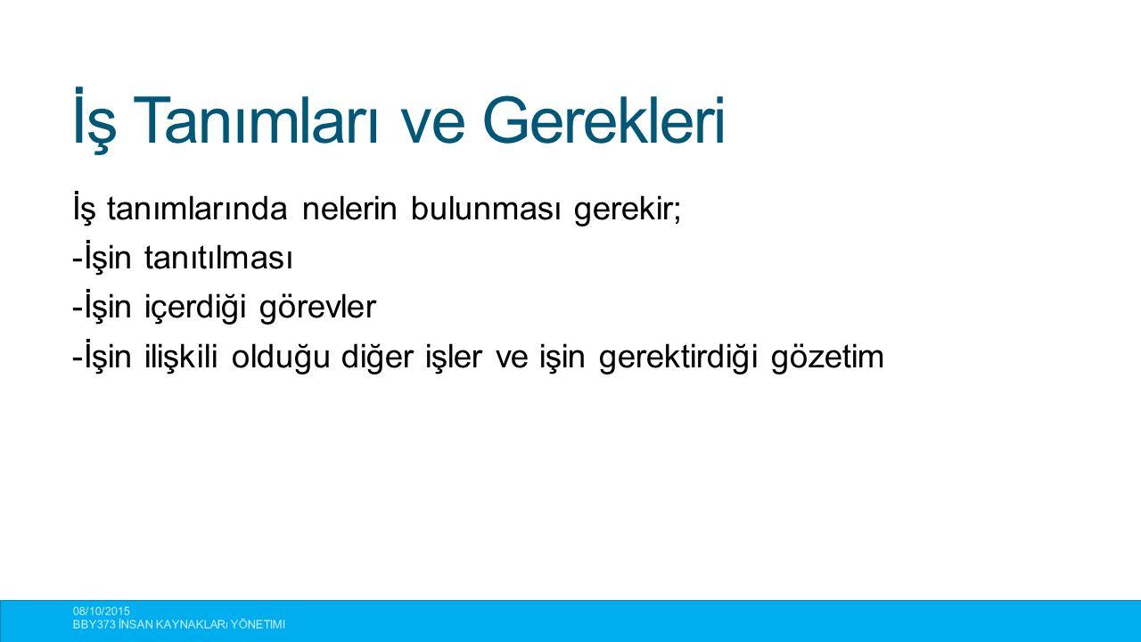 İş Tanımları ve Gerekleri 08/10/2015 BBY373 İNSAN KAYNAKLARı YÖNETIMI 13 İş tanımlarında nelerin bulunması gerekir; -İşin tanıtılması -İşin içerdiği g