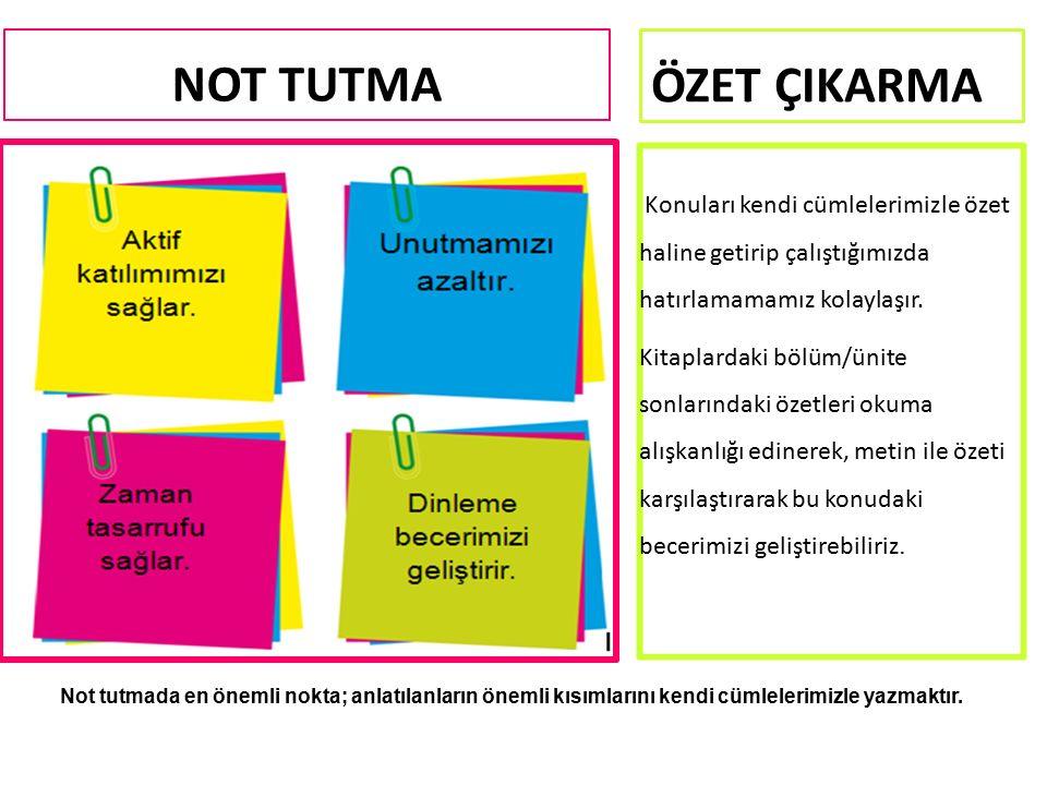 NOT TUTMA Not tutmada en önemli nokta; anlatılanların önemli kısımlarını kendi cümlelerimizle yazmaktır.