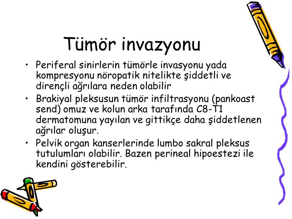 Tümör invazyonu Periferal sinirlerin tümörle invasyonu yada kompresyonu nöropatik nitelikte şiddetli ve dirençli ağrılara neden olabilir Brakiyal plek