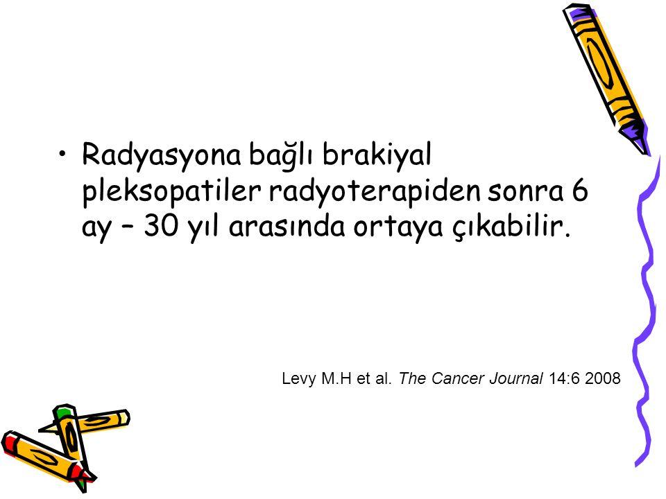 Radyasyona bağlı brakiyal pleksopatiler radyoterapiden sonra 6 ay – 30 yıl arasında ortaya çıkabilir. Levy M.H et al. The Cancer Journal 14:6 2008