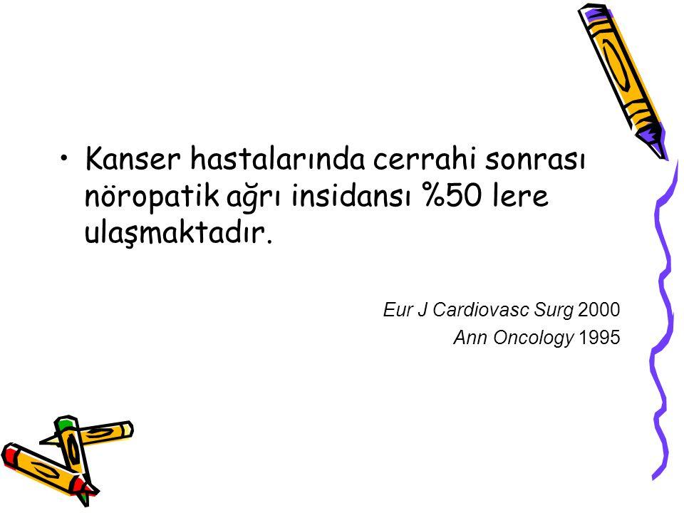 Kanser hastalarında cerrahi sonrası nöropatik ağrı insidansı %50 lere ulaşmaktadır. Eur J Cardiovasc Surg 2000 Ann Oncology 1995