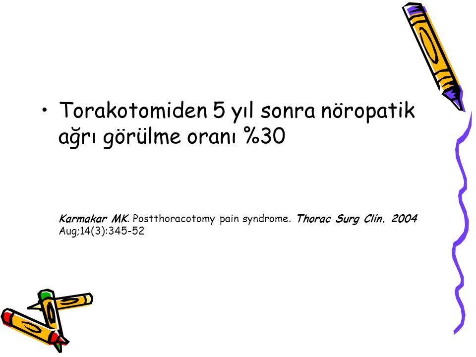 Torakotomiden 5 yıl sonra nöropatik ağrı görülme oranı %30 Karmakar MK. Postthoracotomy pain syndrome. Thorac Surg Clin. 2004 Aug;14(3):345-52