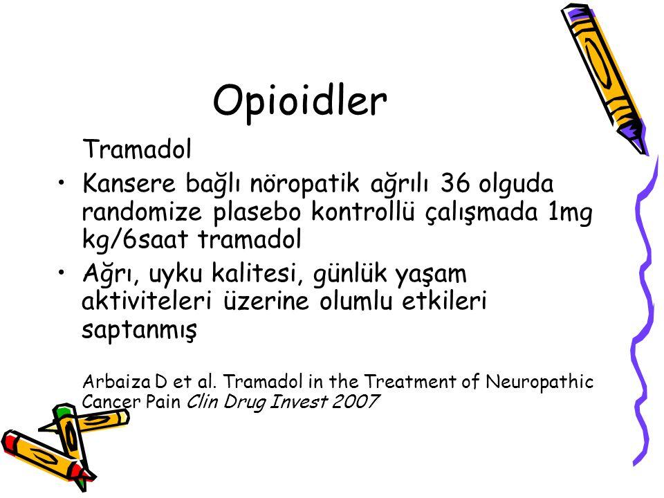 Opioidler Tramadol Kansere bağlı nöropatik ağrılı 36 olguda randomize plasebo kontrollü çalışmada 1mg kg/6saat tramadol Ağrı, uyku kalitesi, günlük ya