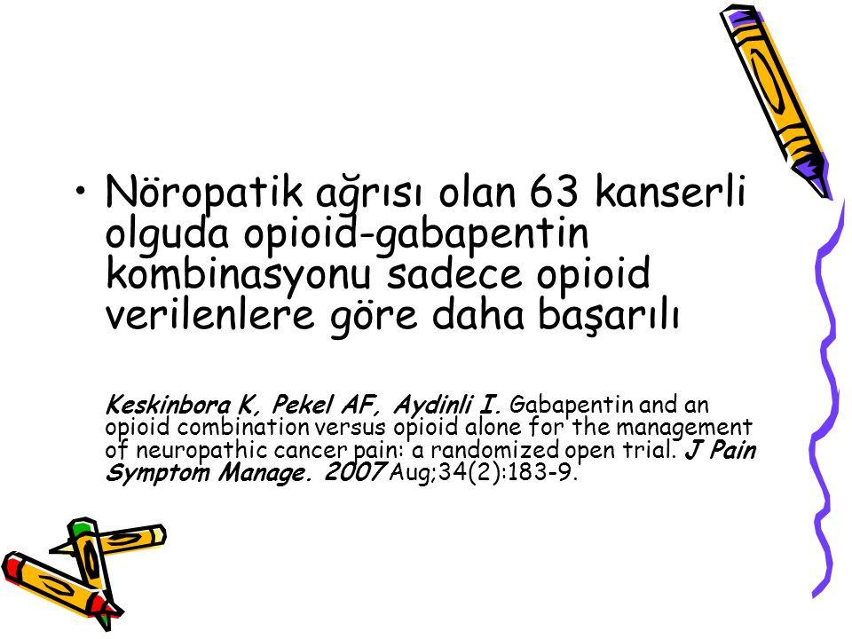 Nöropatik ağrısı olan 63 kanserli olguda opioid-gabapentin kombinasyonu sadece opioid verilenlere göre daha başarılı Keskinbora K, Pekel AF, Aydinli I