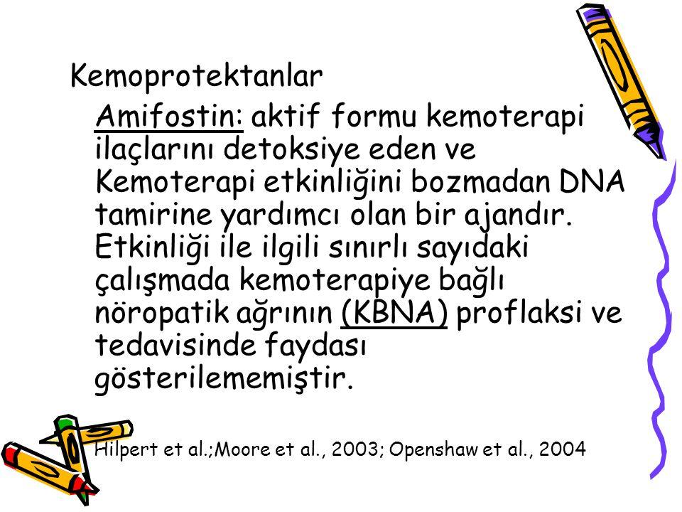 Kemoprotektanlar Amifostin: aktif formu kemoterapi ilaçlarını detoksiye eden ve Kemoterapi etkinliğini bozmadan DNA tamirine yardımcı olan bir ajandır