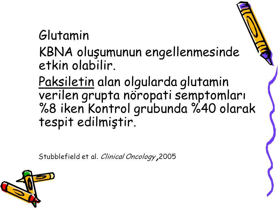 Glutamin KBNA oluşumunun engellenmesinde etkin olabilir. Paksiletin alan olgularda glutamin verilen grupta nöropati semptomları %8 iken Kontrol grubun