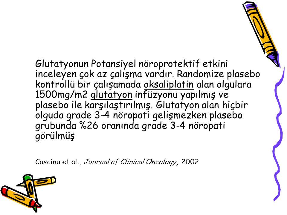 Glutatyonun Potansiyel nöroprotektif etkini inceleyen çok az çalışma vardır. Randomize plasebo kontrollü bir çalışamada oksaliplatin alan olgulara 150