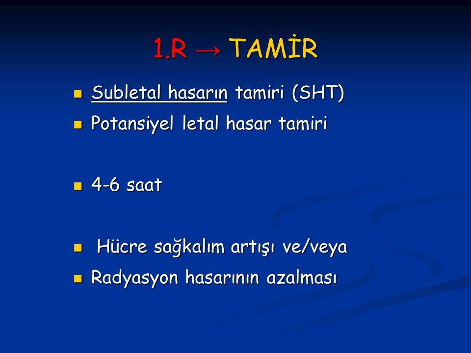 1.R → TAMİR Subletal hasarın tamiri (SHT) Subletal hasarın tamiri (SHT) Potansiyel letal hasar tamiri Potansiyel letal hasar tamiri 4-6 saat 4-6 saat