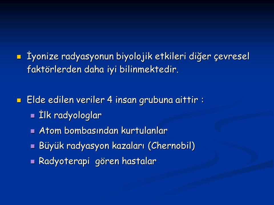Radyasyonun biyolojik etkisi 1) Hücre hasarı 2) Hücre ölümü 3) Organ yetmezliği 4) Ölüm (tüm vücut etkisi)