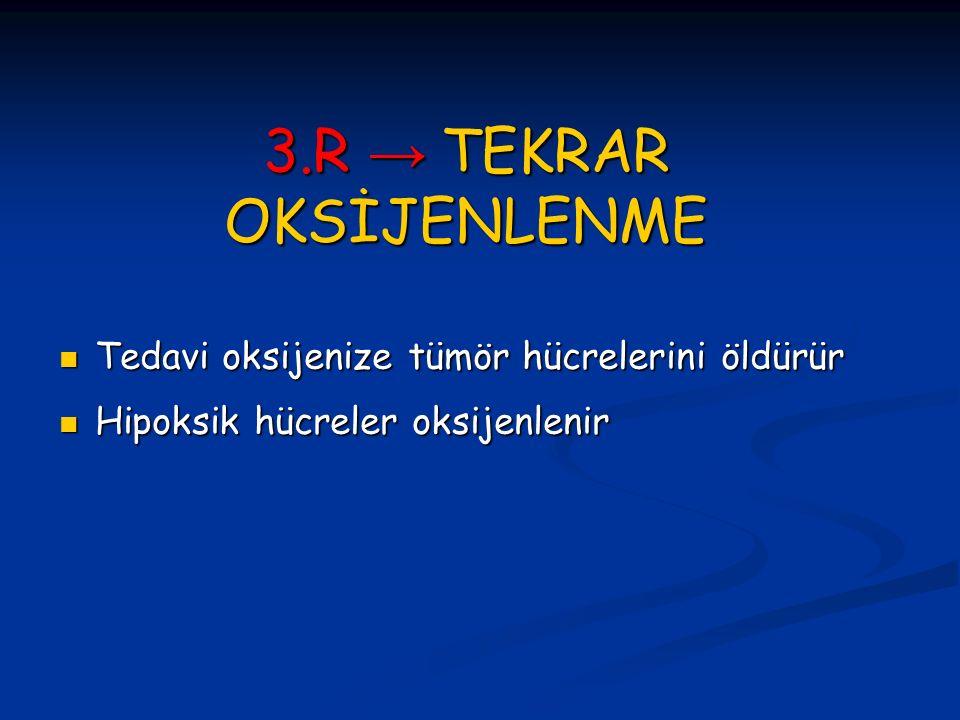 3.R → TEKRAR OKSİJENLENME Tedavi oksijenize tümör hücrelerini öldürür Tedavi oksijenize tümör hücrelerini öldürür Hipoksik hücreler oksijenlenir Hipok