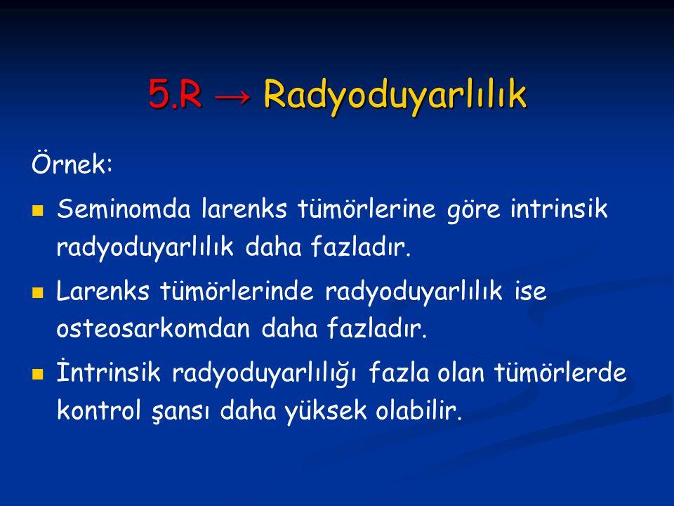 5.R → Radyoduyarlılık Örnek: Seminomda larenks tümörlerine göre intrinsik radyoduyarlılık daha fazladır. Larenks tümörlerinde radyoduyarlılık ise oste