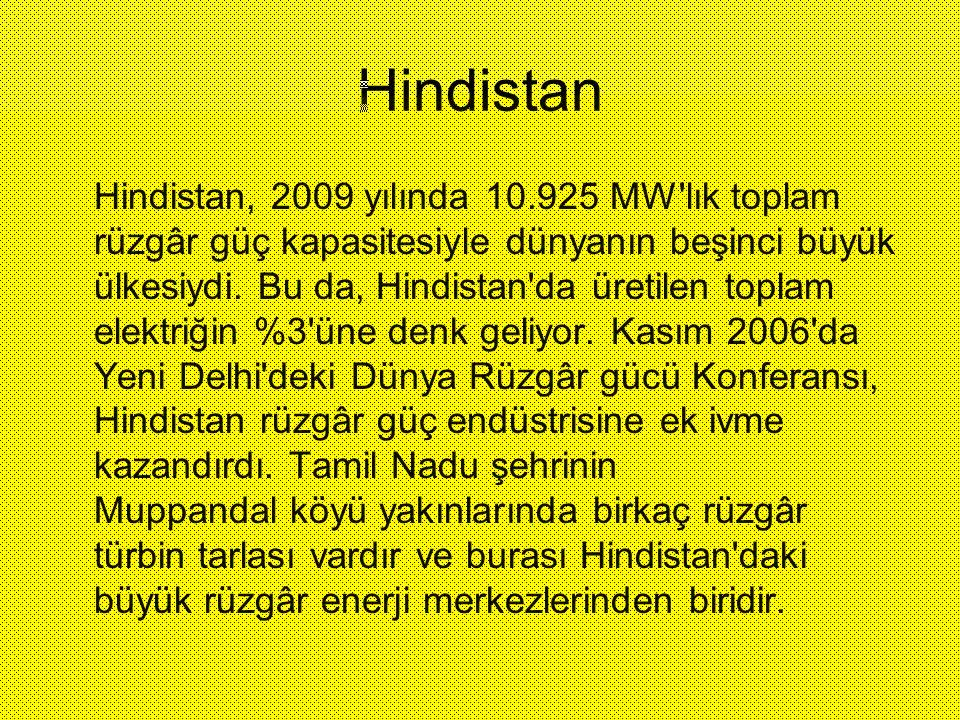 Hindistan Hindistan, 2009 yılında 10.925 MW'lık toplam rüzgâr güç kapasitesiyle dünyanın beşinci büyük ülkesiydi. Bu da, Hindistan'da üretilen toplam