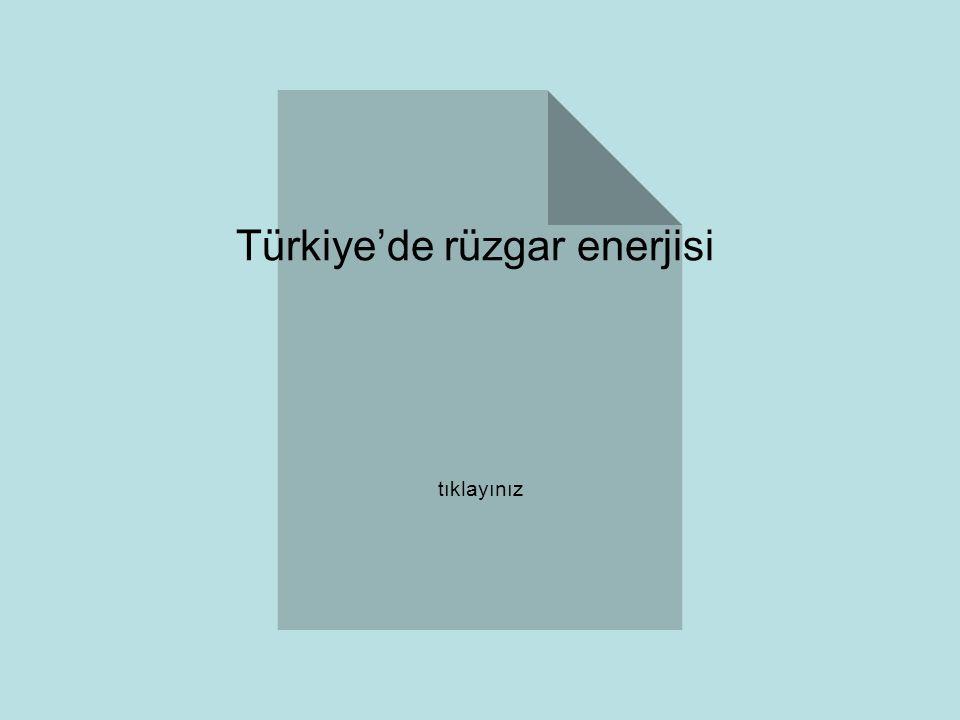 Türkiye'de rüzgar enerjisi tıklayınız