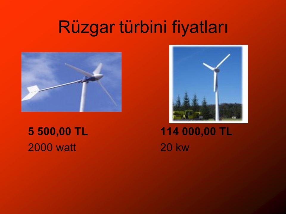 Rüzgar türbini fiyatları 5 500,00 TL114 000,00 TL 2000 watt20 kw
