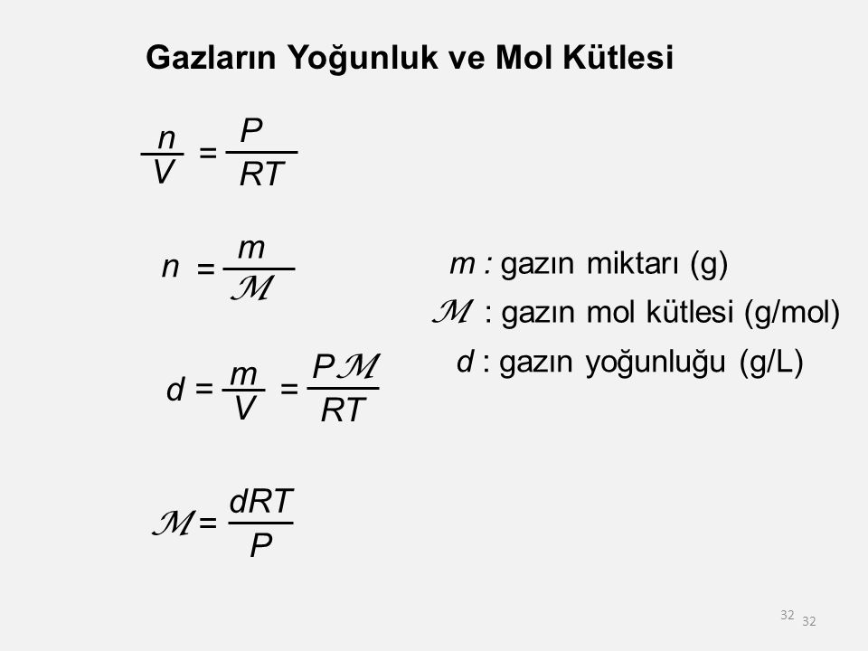 32 Gazların Yoğunluk ve Mol Kütlesi m : gazın miktarı (g) M : gazın mol kütlesi (g/mol) d : gazın yoğunluğu (g/L) d = m V = PMPM RT dRT P M = n V = P RT n = m M