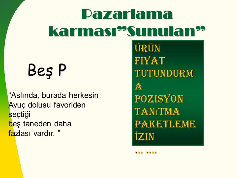 Pazarlama karması Sunulan P Beş P ÜrünFiyat Tutundurm a Pozisyon Tan ı tma Paketleme İ zin.......