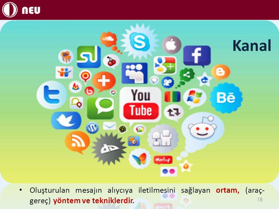 Kanal Oluşturulan mesajın alıycıya iletilmesini sağlayan ortam, (araç- gereç) yöntem ve tekniklerdir. 18