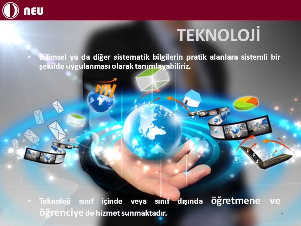 TEKNOLOJİ Bilimsel ya da diğer sistematik bilgilerin pratik alanlara sistemli bir şekilde uygulanması olarak tanımlayabiliriz. Teknoloji sınıf içinde
