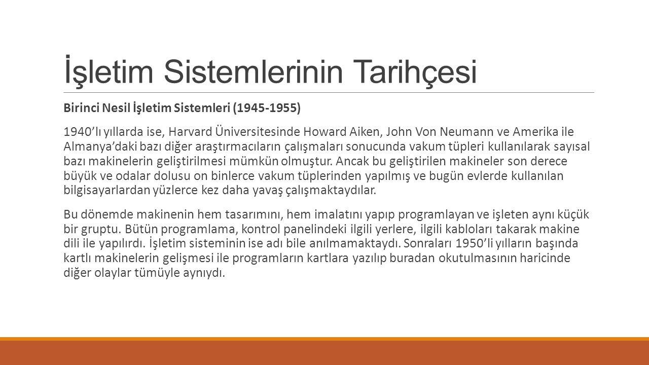 İşletim Sistemlerinin Tarihçesi Birinci Nesil İşletim Sistemleri (1945-1955) 1940'lı yıllarda ise, Harvard Üniversitesinde Howard Aiken, John Von Neumann ve Amerika ile Almanya'daki bazı diğer araştırmacıların çalışmaları sonucunda vakum tüpleri kullanılarak sayısal bazı makinelerin geliştirilmesi mümkün olmuştur.