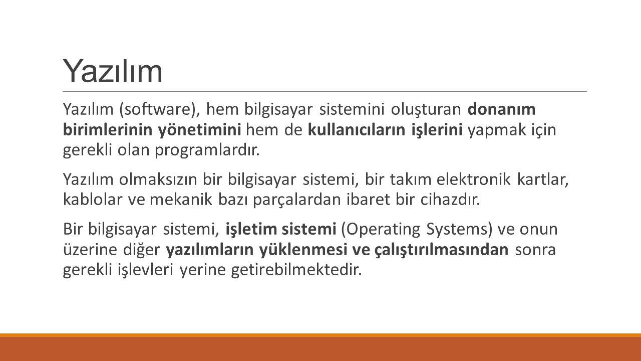 Yazılım Yazılım (software), hem bilgisayar sistemini oluşturan donanım birimlerinin yönetimini hem de kullanıcıların işlerini yapmak için gerekli olan programlardır.