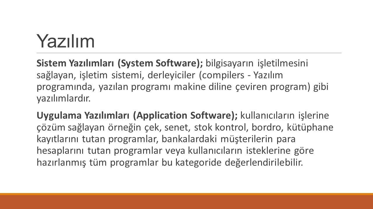 Yazılım Sistem Yazılımları (System Software); bilgisayarın işletilmesini sağlayan, işletim sistemi, derleyiciler (compilers - Yazılım programında, yazılan programı makine diline çeviren program) gibi yazılımlardır.
