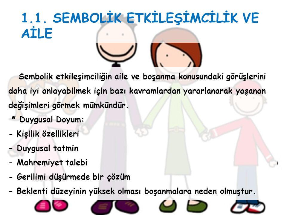 1.1. SEMBOLİK ETKİLEŞİMCİLİK VE AİLE Sembolik etkileşimciliğin aile ve boşanma konusundaki görüşlerini daha iyi anlayabilmek için bazı kavramlardan ya