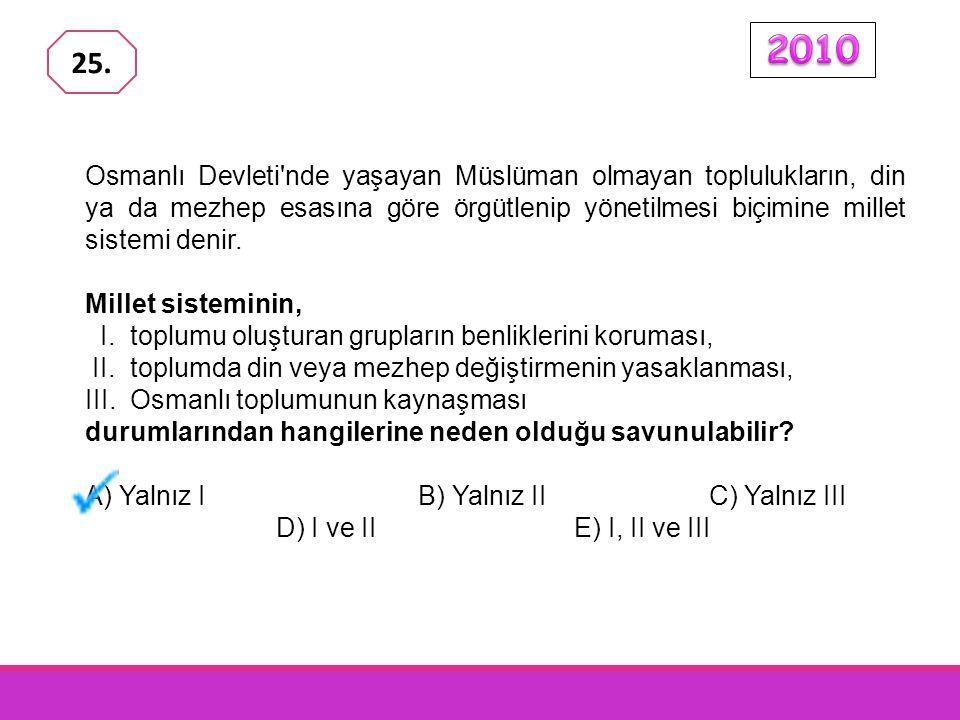 Osmanlı Devleti nde yaşayan Müslüman olmayan toplulukların, din ya da mezhep esasına göre örgütlenip yönetilmesi biçimine millet sistemi denir.