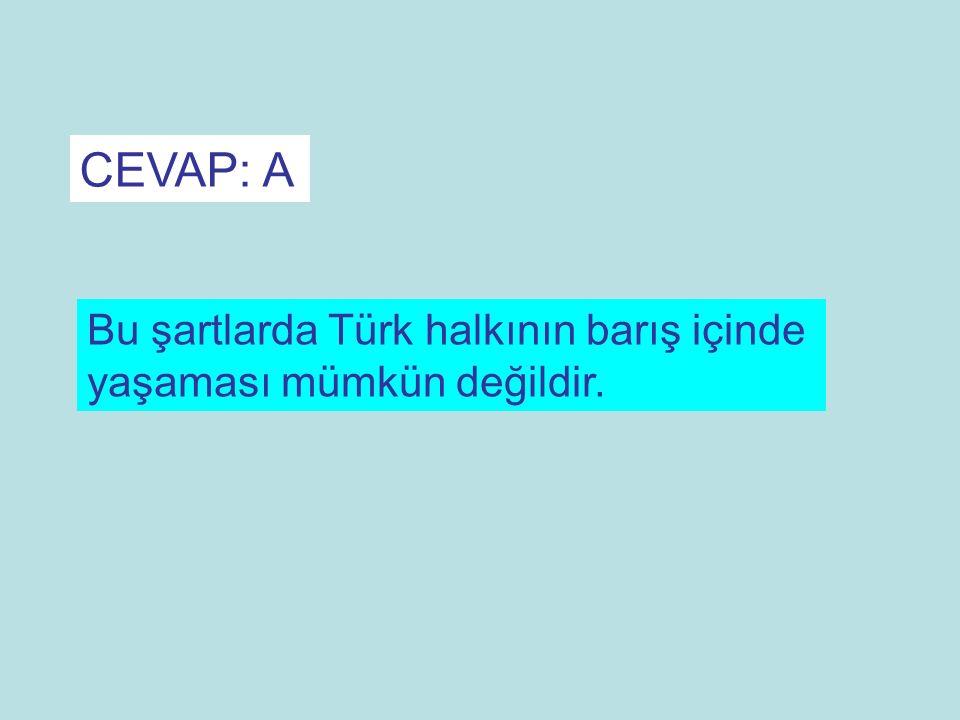 CEVAP: A Bu şartlarda Türk halkının barış içinde yaşaması mümkün değildir.