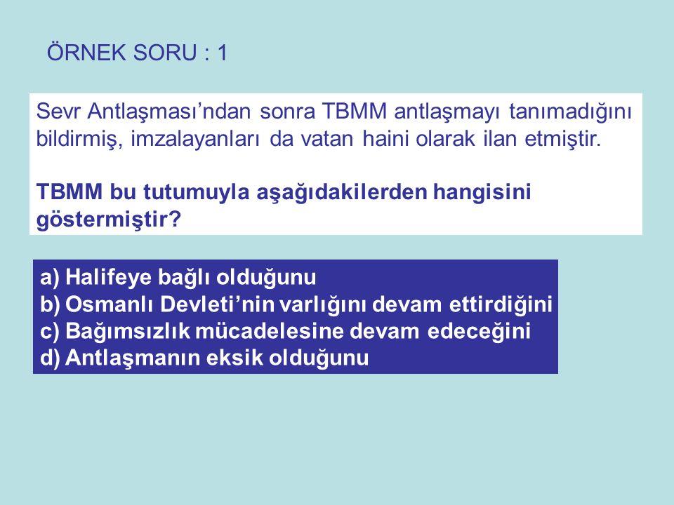 CEVAP: C TBMM Antlaşmayı tanımayarak, Bağımsızlık mücadelesine devam edeceğini göstermiştir.