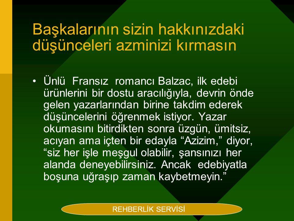 Rehberlik Servisi Hazırlayan Maruf BEÇENE Başkalarının sizin hakkınızdaki düşünceleri azminizi kırmasın Ünlü Fransız romancı Balzac, ilk edebi ürünler