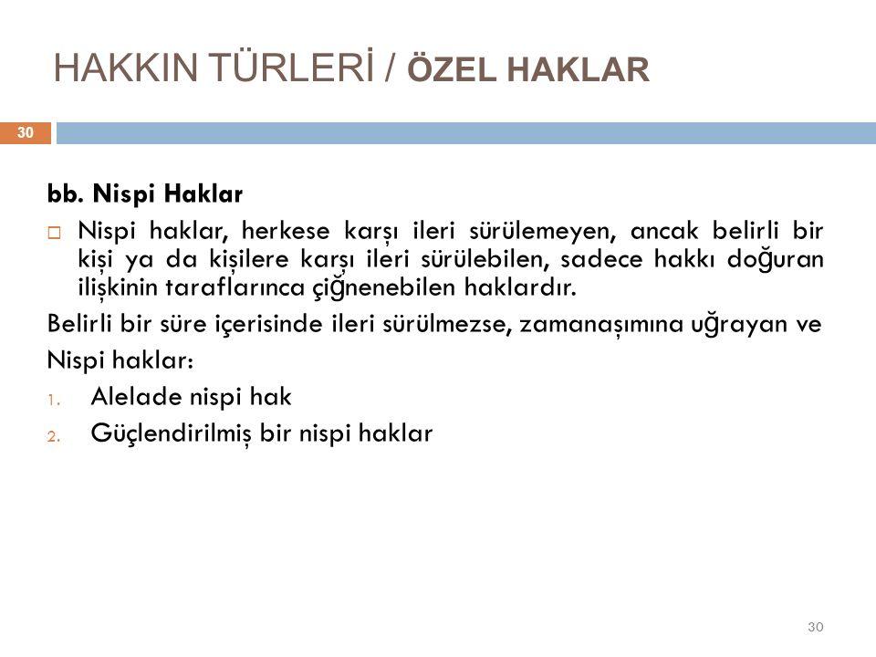 HAKKIN TÜRLERİ / ÖZEL HAKLAR 30 bb.