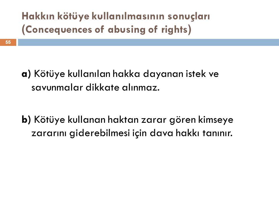 Hakkın kötüye kullanılmasının sonuçları ( Concequences of abusing of rights ) 55 a) Kötüye kullanılan hakka dayanan istek ve savunmalar dikkate alınmaz.
