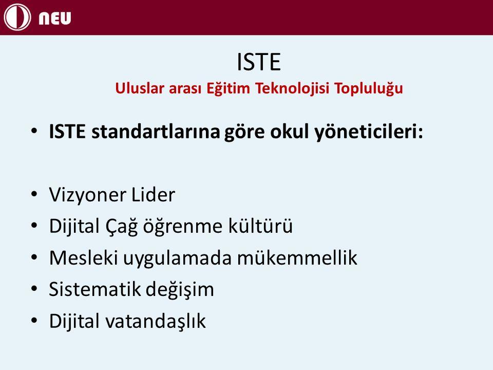 ISTE standartlarına göre okul yöneticileri: Vizyoner Lider Dijital Çağ öğrenme kültürü Mesleki uygulamada mükemmellik Sistematik değişim Dijital vatandaşlık ISTE Uluslar arası Eğitim Teknolojisi Topluluğu