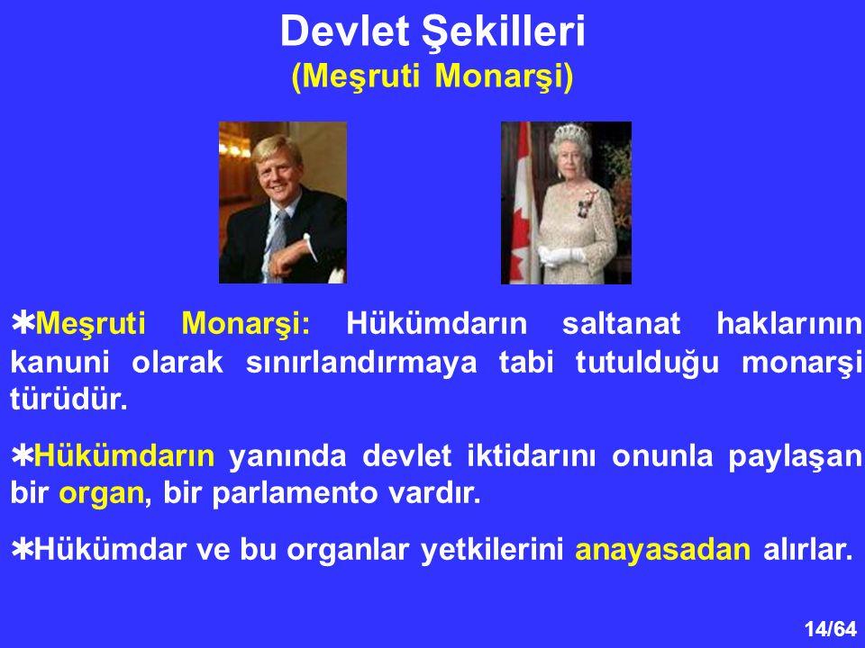 14/64 Devlet Şekilleri (Meşruti Monarşi)  Meşruti Monarşi: Hükümdarın saltanat haklarının kanuni olarak sınırlandırmaya tabi tutulduğu monarşi türüdü