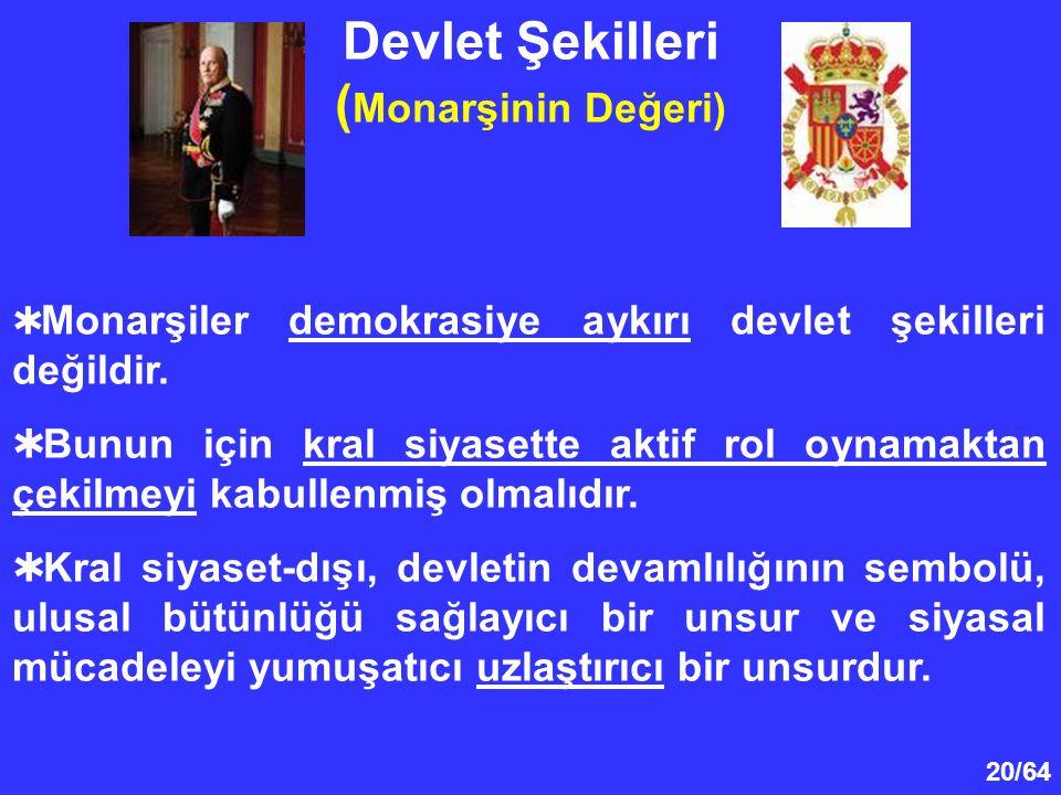 20/64 Devlet Şekilleri ( Monarşinin Değeri)  Monarşiler demokrasiye aykırı devlet şekilleri değildir.  Bunun için kral siyasette aktif rol oynamakta