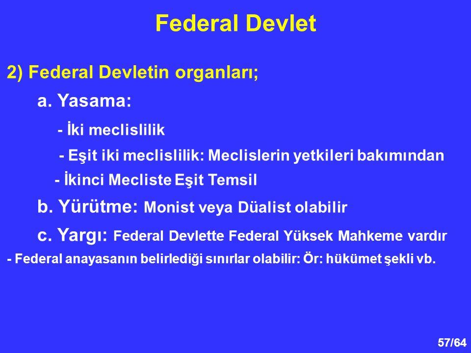 57/64 Federal Devlet 2) Federal Devletin organları; a. Yasama: - İki meclislilik - Eşit iki meclislilik: Meclislerin yetkileri bakımından - İkinci Mec