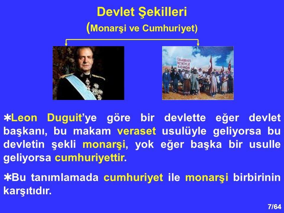 7/64 Devlet Şekilleri ( Monarşi ve Cumhuriyet)  Leon Duguit'ye göre bir devlette eğer devlet başkanı, bu makam veraset usulüyle geliyorsa bu devletin