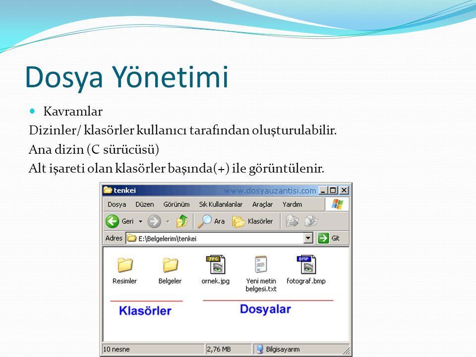 Dosya Yönetimi Kavramlar Dizinler/ klasörler kullanıcı tarafından oluşturulabilir.