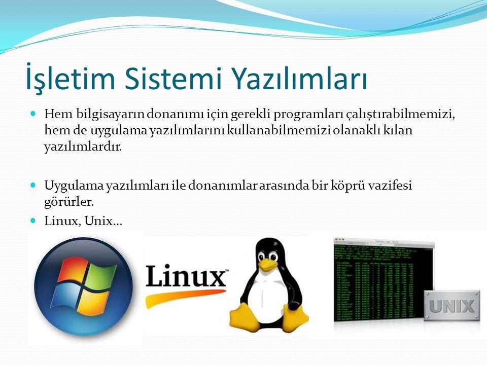 İşletim Sistemi Yazılımları Hem bilgisayarın donanımı için gerekli programları çalıştırabilmemizi, hem de uygulama yazılımlarını kullanabilmemizi olanaklı kılan yazılımlardır.