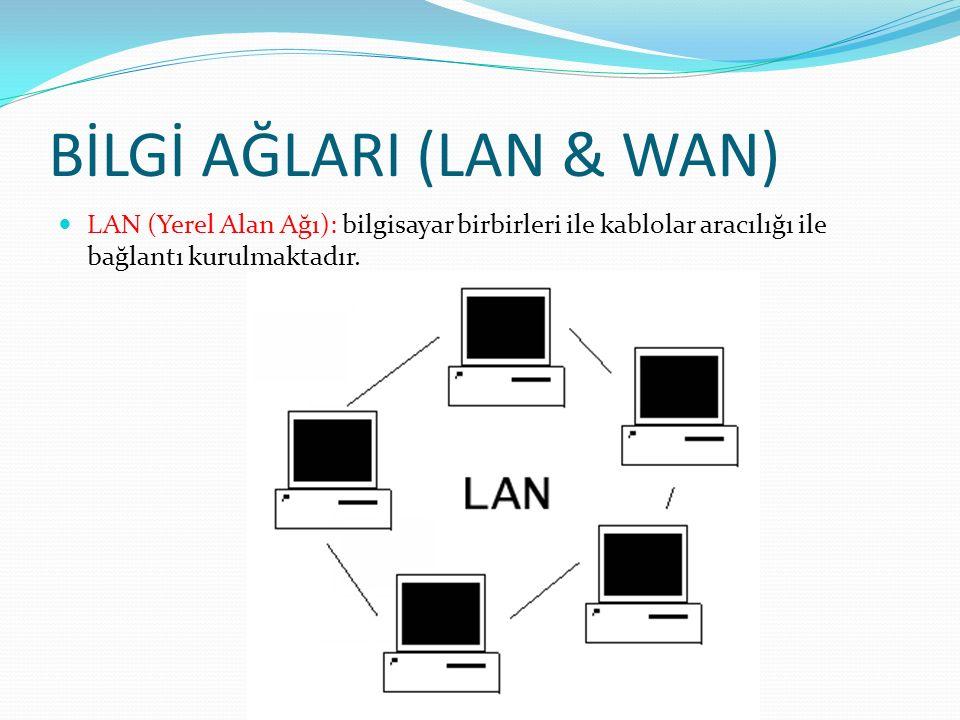BİLGİ AĞLARI (LAN & WAN) LAN (Yerel Alan Ağı): bilgisayar birbirleri ile kablolar aracılığı ile bağlantı kurulmaktadır.