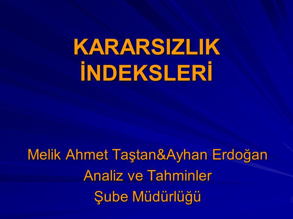 KARARSIZLIK İNDEKSLERİ Melik Ahmet Taştan&Ayhan Erdoğan Analiz ve Tahminler Şube Müdürlüğü