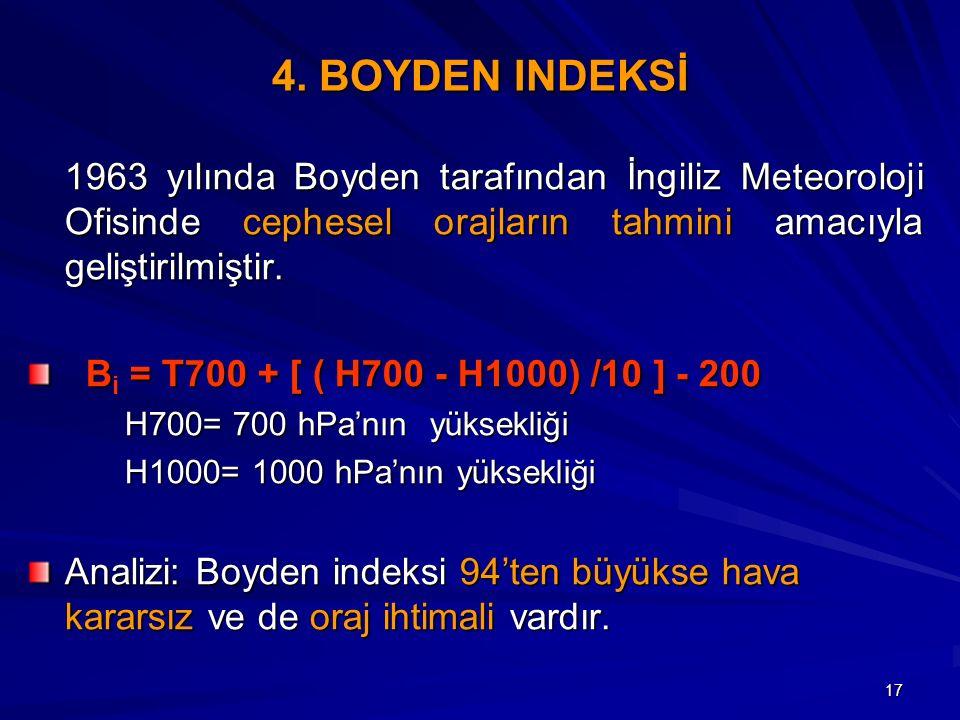 17 4. BOYDEN INDEKSİ 1963 yılında Boyden tarafından İngiliz Meteoroloji Ofisinde cephesel orajların tahmini amacıyla geliştirilmiştir. B = T700 + [ (