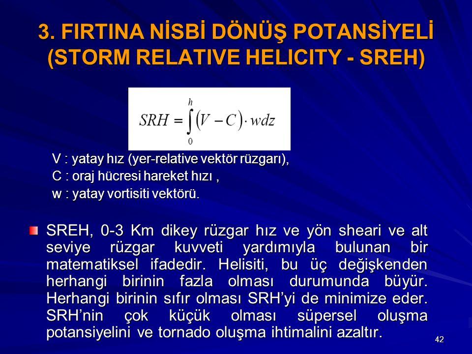 42 3. FIRTINA NİSBİ DÖNÜŞ POTANSİYELİ (STORM RELATIVE HELICITY - SREH) V : yatay hız (yer-relative vektör rüzgarı), C : oraj hücresi hareket hızı, w :