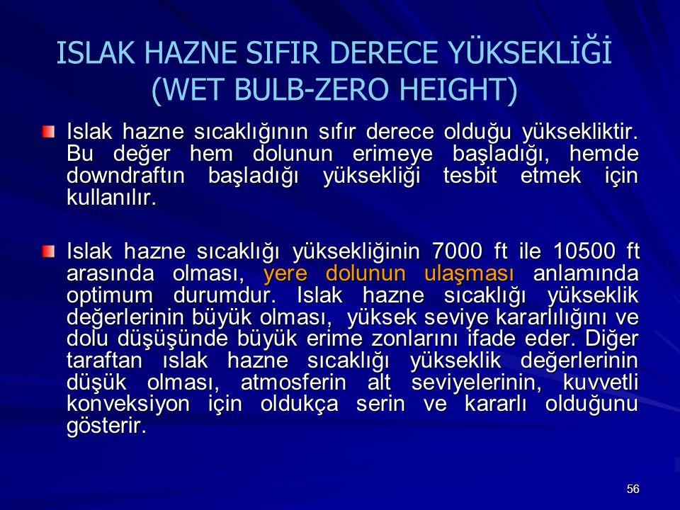 56 ISLAK HAZNE SIFIR DERECE YÜKSEKLİĞİ (WET BULB-ZERO HEIGHT) Islak hazne sıcaklığının sıfır derece olduğu yüksekliktir. Bu değer hem dolunun erimeye
