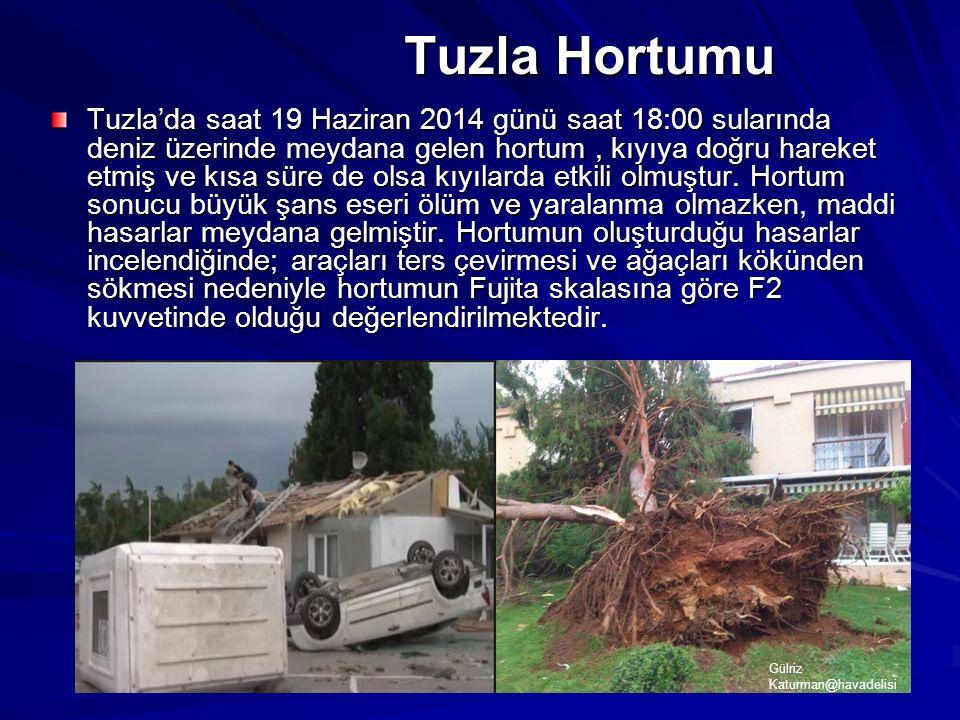 Tuzla Hortumu Tuzla'da saat 19 Haziran 2014 günü saat 18:00 sularında deniz üzerinde meydana gelen hortum, kıyıya doğru hareket etmiş ve kısa süre de