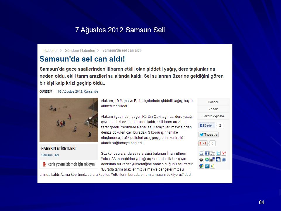 84 7 Ağustos 2012 Samsun Seli