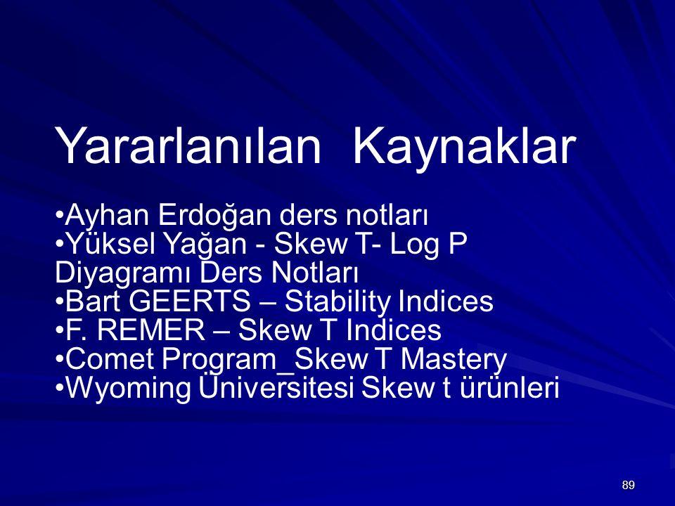 89 Yararlanılan Kaynaklar Ayhan Erdoğan ders notları Yüksel Yağan - Skew T- Log P Diyagramı Ders Notları Bart GEERTS – Stability Indices F. REMER – Sk